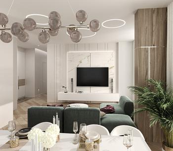 Дизайнеры показали, как стильно обустроили интерьер в большой квартире