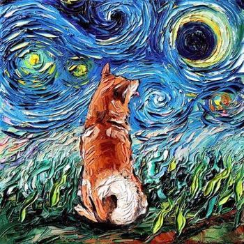 """Портреты собак в стиле """"Звёздной ночи"""" Ван Гога"""
