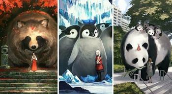 Художница из Японии создала волшебный мир, наполненный теплом, добротой и огромными зверями