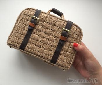 Декоративный чемодан. Плетение из джута