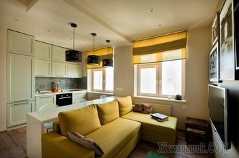 Маленькая квартира — 43 кв.м цвета шафрана