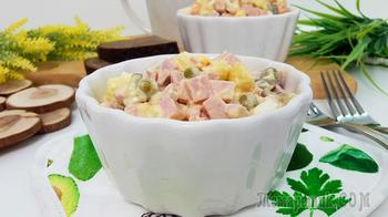 Салат «Оливье» с колбасой (идеальные пропорции)