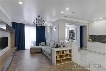 Просторная квартира в новостройке с большой гардеробной для семьи из трех человек
