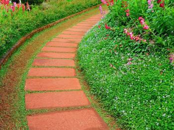 Идеи оформления садовых дорожек из натурального камня