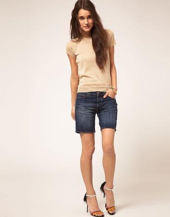 Как носить узкие длинные шорты?