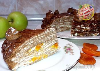 Блинный торт «Шоколадный» без выпечки