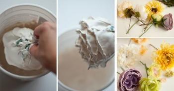 Что получится, если окунуть цветок в гипс, разведенный водой?