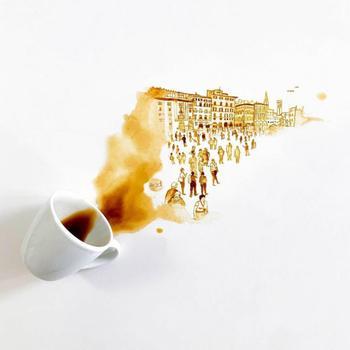 Когда пролитый кофе превращается в произведение искусства