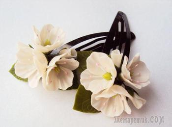 Лепим цветущие веточки яблони из самозастывающей пластики