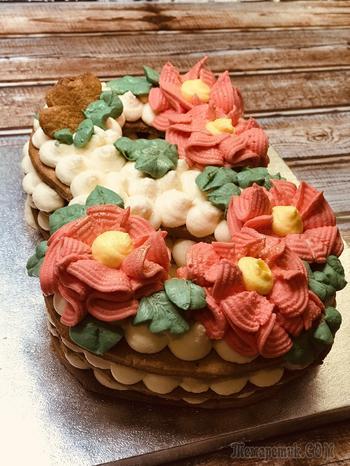 Торт цифра с медовыми коржами шикарный подарок на 8 марта!