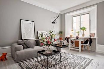 Интерьер квартиры в сером цвете 38 кв. м.