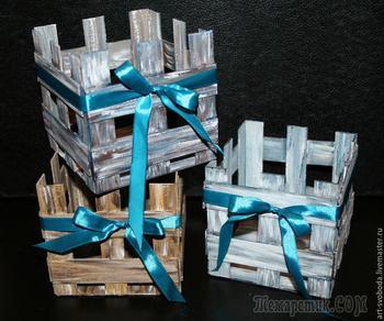 Делаем «деревянный» ящик из картона