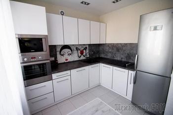 Кухня: красные мотивы в черно-белом фоне