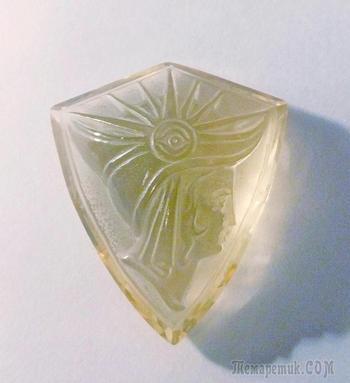 """Камея """"Летнее утро"""", цитрин, огранка, 35 х 31 х 12 мм."""