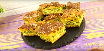 Вместо пирожков. Ленивый заливной пирог с зеленым луком и яйцом видео-рецепт