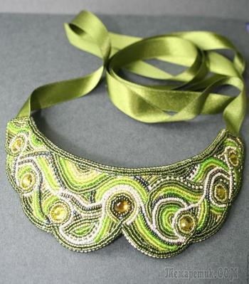 Создаем оригинальный зеленый воротничок на лентах
