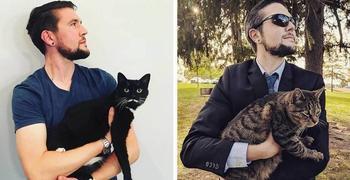Этот парень фотографируется со всеми встречными котами, и на то у него есть веская причина