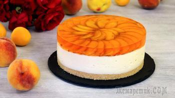 Муссовый торт с персиками (без выпечки)