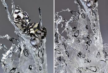 Прекрасные скульптуры Брызги выполнены из стекла