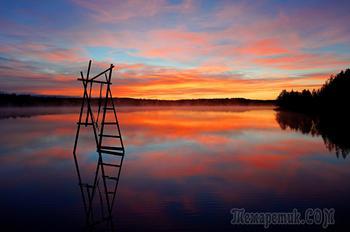 раннее утро в багровом закате