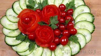 Простая нарезка из помидоров и огурцов на праздничный стол