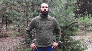 Мужской свитер регланом сверху без швов