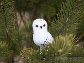 Валяем елочную игрушку «Белая полярная сова»