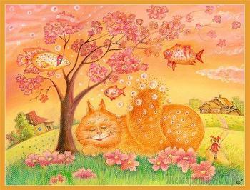 Дворы,кошки и коты на картинах Светланы Кротовой