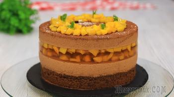 Муссовый шоколадный торт с персикам