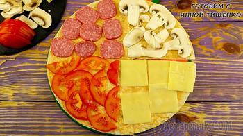 Беру лаваш, колбасу, сыр, грибы и через 15 минут перекус готов!