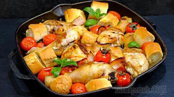 Курочка 3 в 1 – хлеб + овощи + мясо! Сытный ужин быстро и вкусно в одной сковороде!