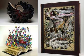 24 самых красивых скульптуры, сделанных из книг