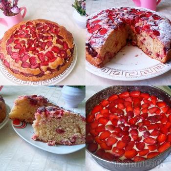 Пирог с клубникой за 10 минут +время на выпечку