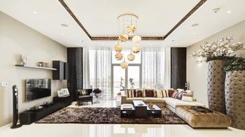 Интерьер элитной квартиры с видом на море в Дубае