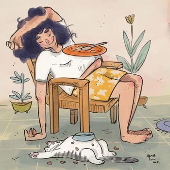 Карантинная жизнь с кошкой в иллюстрациях индийской художницы Аннады Менон