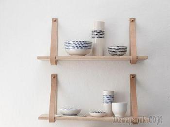 Полки из кожаных ремней: удобные решения для интерьера в скандинавском стиле, фото