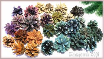 Чем быстро покрасить шишки для декора 3 красителя / Как покрасить шишки для поделок