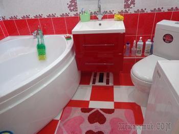 Красно-белый дизайн ванной комнаты – безупречное сочетание «пламени и льда»