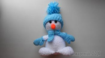 Новогодний Снеговик игрушка амигуруми крючком