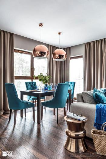 Красивая квартира с акцентом на синий цвет