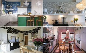 Идеи использования обоев на кухне
