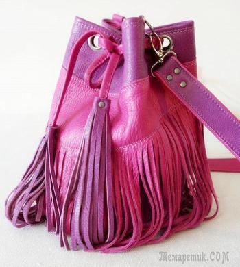 Шьем кожаную сумку-торбу с бахромой