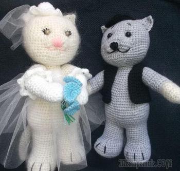 Котики «Жених и невеста», вязаные крючком