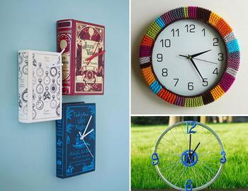 10 идей по созданию необычных часов из подручных средств