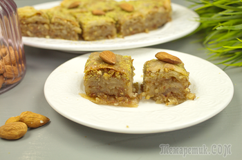 Пирог из теста фило с медово-ореховой начинкой.