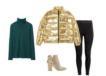 C чем носить золотой пуховик?