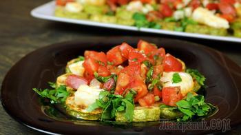 Кабачки с обжаренным сыром и томатами