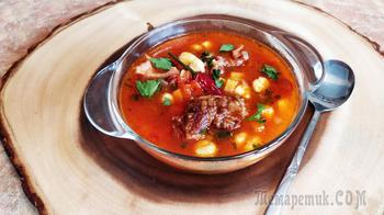 Венгерский суп с копченостями Боб левеш