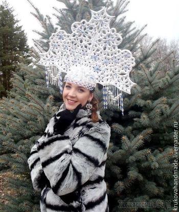 Изготовление ажурного кокошника для снегурочки