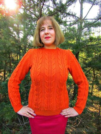 Женский свитер с косами. Подробный видео-урок вязания свитера